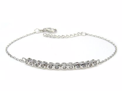 Picture of Sterling Silver Row Chain Bracelet Rhodium Plated
