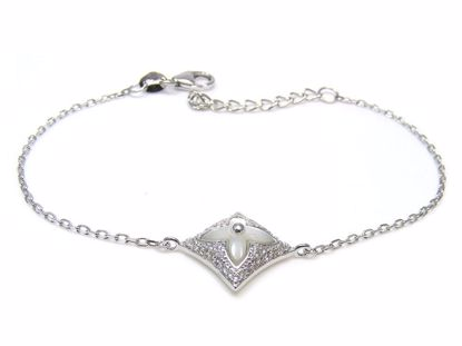 Picture of Sterling Silver Diamond & Clover Shape Chain Bracelet Rhodium Plated