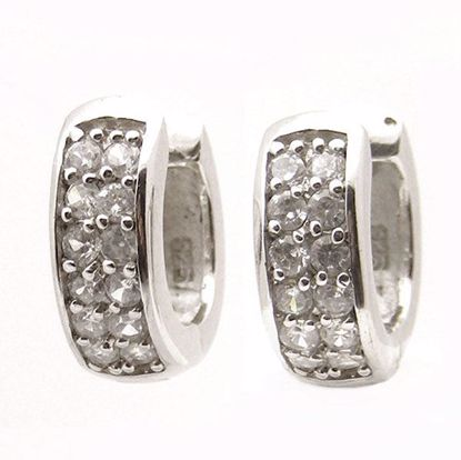 Picture of Stunning White Cubic Zircon Cluster Hoop Earrings in Sterling Silver
