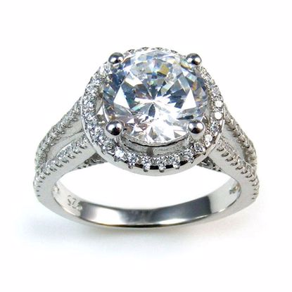Picture of Clear Round CZ Stones Cluster Ring in Sterling Silver