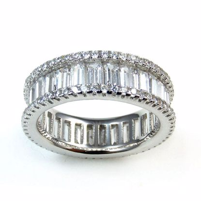 Picture of Clear Baguette and Round CZ Full Eternity Ring in Sterling Silver