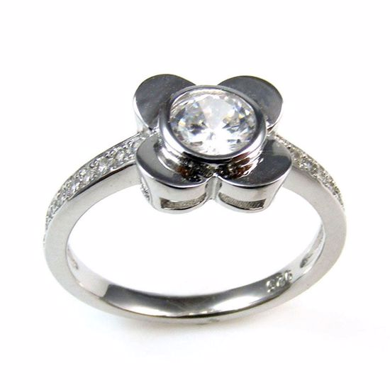 Picture of Clear CZ Flower Shape Ring in Sterling Silver