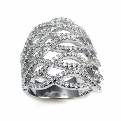 Picture of Clear CZ Wave Design Chunky Cluster Ring in Sterling Silver