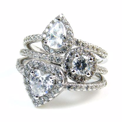 Picture of Clear CZ Pear Shape and Round Cluster Stacking Ring in Sterling Silver
