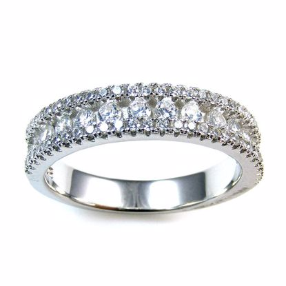 Picture of Clear Round CZ Half Eternity Ring in Sterling Silver