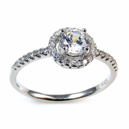 Picture of Clear CZ Round and Shoulder Stone Ring in Sterling Silver