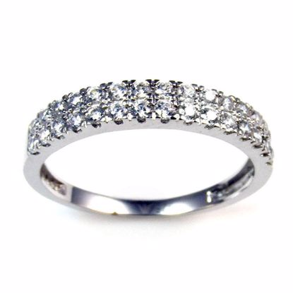 Picture of Clear CZ Two Rows Half Eternity Ring in Sterling Silver