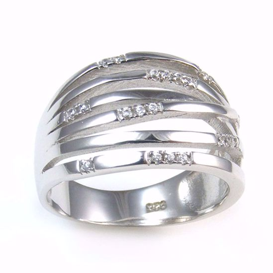 Picture of Clear CZ Stripe bands Chunky Ring in Sterling Silver