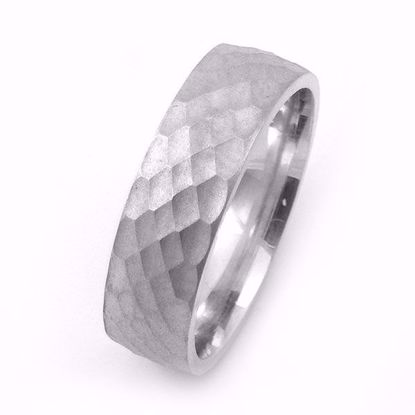Picture of Hammer Pattern and Matte Finish Sterling Silver Pattern Wedding Ring