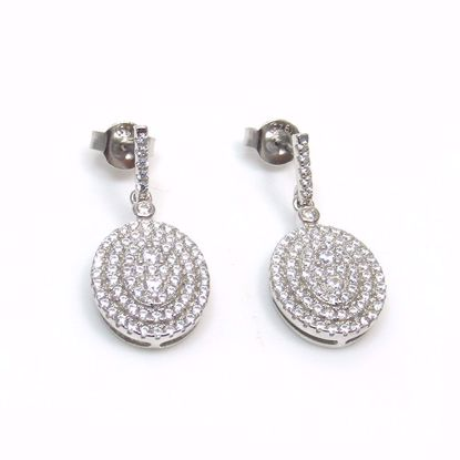 Picture of Clear CZ Oval Shaped Drop Earrings in Sterling Silver