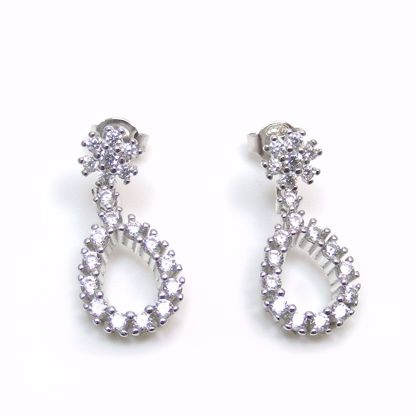 Picture of Clear CZ Pear Shaped Drop Earrings in Sterling Silver