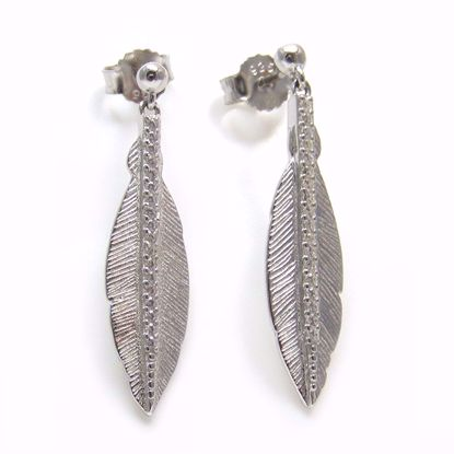 Picture of Clear CZ Leaf Shaped Drop Earrings in Sterling Silver