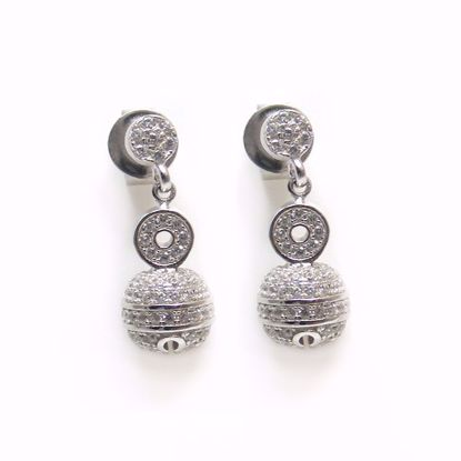 Picture of Clear CZ Ball Shaped Drop Earrings in Sterling Silver