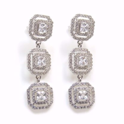 Picture of Clear CZ Octagon Shaped Drop Earrings in Sterling Silver