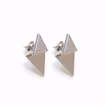 Picture of Clear CZ Triangle Cluster Drop Earrings in Sterling Silver