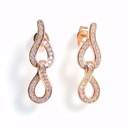 Picture of ER0-034-Clear CZ Round Twisted Link Drop Earrings in Sterling Silver