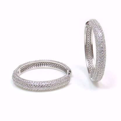Picture of ER0-035-Clear CZ Cluster 4 mm Hoop Earrings in Sterling Silver