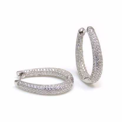 Picture of ER0-037-Clear CZ Cluster 4 mm Hoop Earrings in Sterling Silver