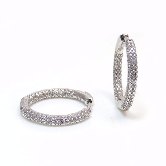 Picture of Clear CZ Cluster 2.5 mm Hoop Earrings in Sterling Silver