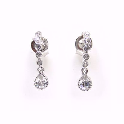 Picture of Clear CZ Line Drop Earrings in Sterling Silver