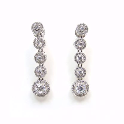 Picture of Clear CZ Round Cluster Drop Earrings in Sterling Silver
