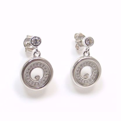 Picture of Floating Clear CZ Round Drop Earrings in Sterling Silver