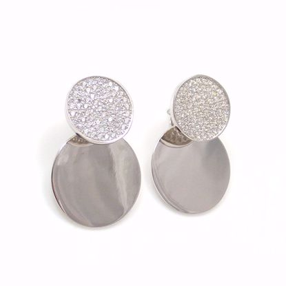 Picture of Clear CZ Round Cluster & Polished Drop Earrings in Sterling Silver