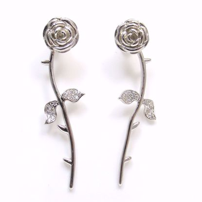 Picture of Clear CZ Rose Flower Shape Drop Earrings in Sterling Silver