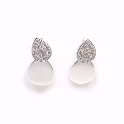 Picture of Clear CZ Pear Shape Cluster and Polished Drop Earrings in Sterling Silver