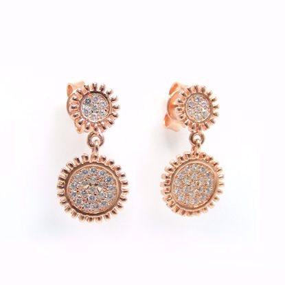 Picture of Clear CZ Round Cluster Rose Gold Drop Earrings in Sterling Silver