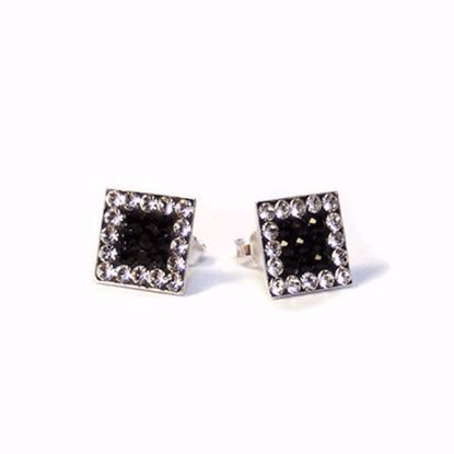 Picture of Black and Clear CZ Square Shape Stud Earrings in Sterling Silver