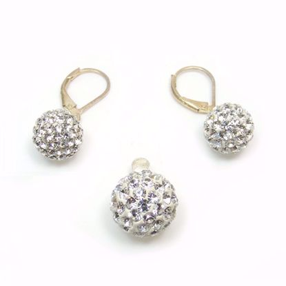 Picture of CZ Shambala Pendant Earring Jewellery Set in Sterling Silver