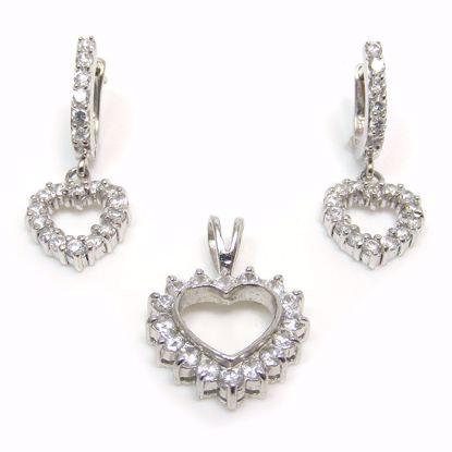 Picture of CZ Heart Shape Pendant Earring Jewellery Set in Sterling Silver
